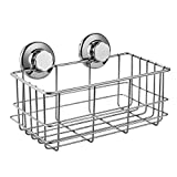 ARCCI Rustproof Shower Caddy Shelf Suction Cup Stainless Steel Bathroom Shampoo Rack, Bath Gel Holder Organiser Kitchen Storage Basket 26.5 x 14 x 11.5cm