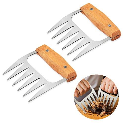 Ouborui Fleisch Aktenvernichter Krallen Edelstahl Fleisch Handler Gabel Mit Holz Griff Fr Kochen 2