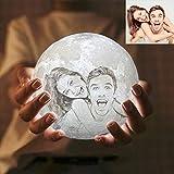 Personalisierung Mond Lampe- Benutzerdefiniertes Foto Nachttischlampe,3D Mond Mondlampe Farbige Dekoleuchte mit Tragbar Dimmbar Schlummerleuchte Stimmungslicht für Geschenk/Weihnachten (4.7inch/12cm)