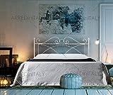 Letto Matrimoniale in Ferro Colore Bianco con GIROLETTO PREDISPOSTO per Rete con Piedini 160 X 190 CM. Non Inclusa - Prodotto Made in Italy
