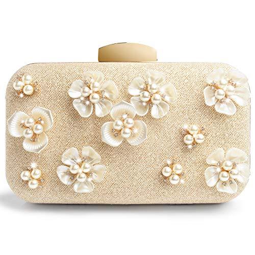 Perlen Abendtasche-clutch (WATACHE Frauen Glitter Flower Floral Perle Kupplungen Abendtaschen Handtaschen Hochzeit Clutch Purse (Gold))