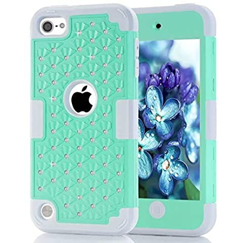 Ipod Touch 5 Coque,Ipod Touch 6 Coque,Lantier [Hard Soft Coque dur] concepteur Crystal Bling Hybrid Cover Coque Armure pour Apple Ipod Touch 5 6th Mint Green +