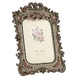 Homyl Retro Style Resin Rose Flower Photo Frame Table Display 6 X 8