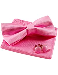 Solid Pre-tied Bow Tie Cufflinks Hanky Set for Men Neck Wear, Pink