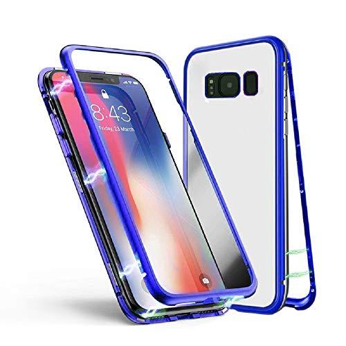 Samsung Galaxy S8 Plus Hülle, Jonwelsy Metallrahmen Magnetische Adsorption Handyhülle mit eingebautem Magnetklappdeckel, Ultra Dünn Gehärtetes Glas Transparente Back Cover (Blau) Back Cover Blende