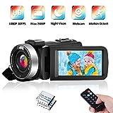 Videocamera Videocamere Full HD 1080P 30FPS Videocamera Digitale 24MP IR Visione Notturna 16X Zoom Telecamera per Vlogging con Telecomando