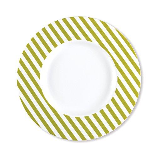 Bruno Evrard Assiette Dessert à Rayures Vert anis en Porcelaine 23cm - Lot de 6 - Freshness Stripe