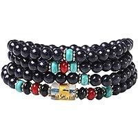 Pulsera de perlas negro pulsera de piedras preciosas artificiales accesorios de cristal