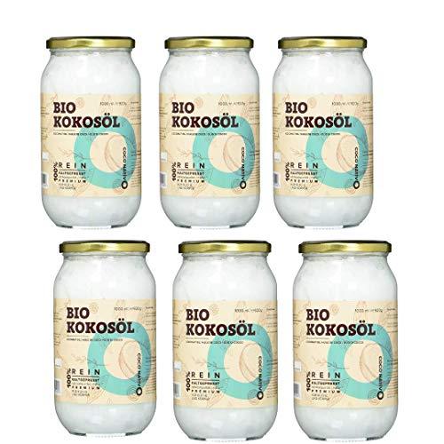 Aceite de Coco CocoNativo Orgánico Virgen Extra Ecologico 6x1000 ml (6 Liter), Extracción En Frío, Fuente De Energía Natural Para Deportistas, Suplemento Alimenticio, Para Cocinar, Para El Pelo