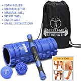 Steel Man Strength Foam Roller Massage Stick Lacrosse Ball Spikey Ball and Carry Case. 4in1 Best Fitness Set for Muscle Massage and Sports Massage with free Exercise Routine E-book included