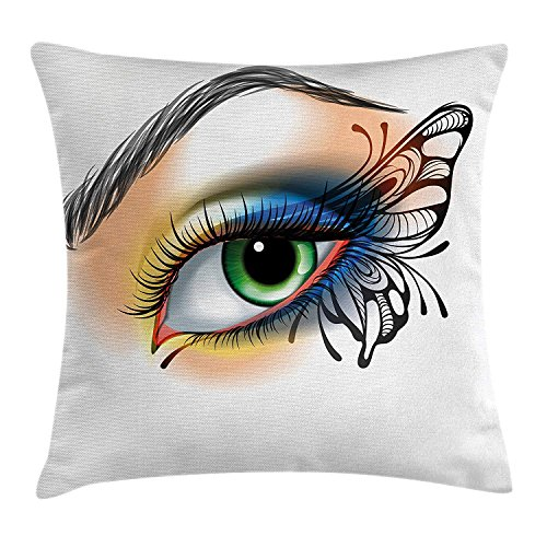 hion Cover, Fantasy Woman's Eye Make Up Butterfly Wing Vibrant Colors Eyelashes Female Looking, Decorative Square Accent Pillow Case, 18 X 18 Inches, Multicolor ()
