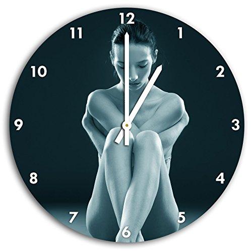 Femme nue faisant du yoga B & W en détail, horloge murale avec les mains pointues et des objets de décoration de visage, Designuhr, composite aluminium très agréable pour salon, bureau