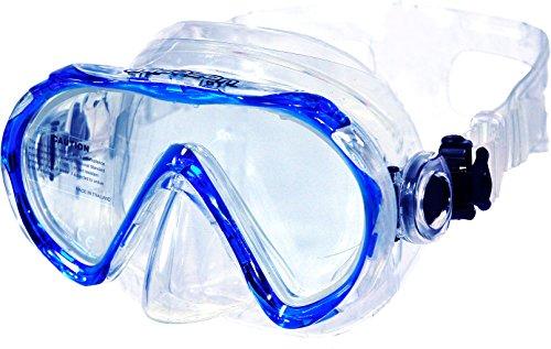 AQUAZON Beach Masque Tuba Junior Medium, Lunettes de plongée, Lunettes de Natation, Masque de plongée pour Enfants, Jeunes de 7 à 14 Ans, Verre trempé, très résistant, Forme Ergonomique, Couleur:Blau