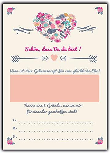 Wunschkarten Hochzeitsspiel 52 Postkarten Schön, dass Du da bist mit Fragen & Aufgaben für Gäste & Brautpaar im Vintage Look creme Hochzeitsspiele Karten Gutscheine Gästebuch Wünsche