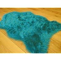Teal Blue Faux Fur Sheepskin Style Rug (70cm x 100cm)
