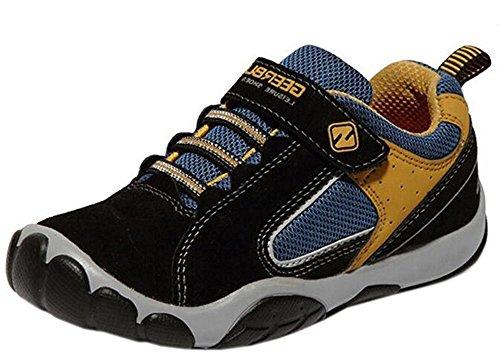 WUIWUIYU Boy's Casual Sport Sneakers Outdoor Running Shoes Black(B) Size 6