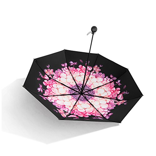 LXY Sunscreen Black Umbrella Folding Umbrella Women UV Sun Umbrellas Umbrella (Color : Pink)