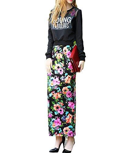 SaiDeng Femme Des Lettres Sweatshirt At Flower Impression Longue Gilet Robe Comme Image Robe