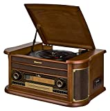 Roadstar HIF-2030 BT Retro Stereo-Anlage mit Plattenspieler, Kassette, CD-Player, Bluetooth und Radio (CD / MP3, USB, LCD-Display, Fernbedienung, 100 W), braun