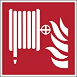 Brady 817037 - Carrete para manguera de incendios (poliéster, 100 x 100 mm), color blanco sobre rojo