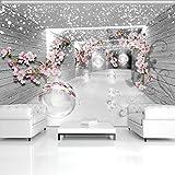 FORWALL Fototapete Tapete 3D Magischer Tunnel mit Blumen P8 (368cm. x 254cm.) Photo Wallpaper Mural AMF3360P8 Gratis Wandaufkleber Abstraktion Grau Tunnel Blumen Pflanzen Kugeln