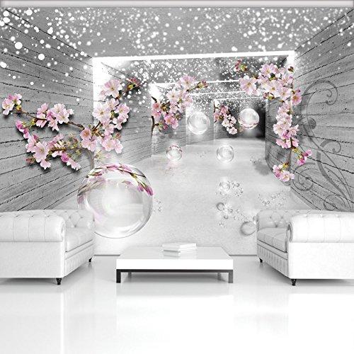 *FORWALL Fototapete Vlies Tapete Moderne Wanddeko 3D Magischer Tunnel mit Blumen V8 (368cm. x 254cm.) AMF3360V8*