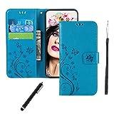 Huawei P30 Lite Hülle,Premium PU Leder Flip Brieftasche Schutzhülle [Standfunktion][Kartenfach][Magnetverschluss] Tasche Case Cover Etui Schutzhülle Klapphülle lederhülle für Huawei P30 Lite Blaue