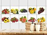 GRAZDesign 770376_15x15_FS10st Fliesenaufkleber für Küche | Fliesensticker-Set Beeren und Früchte | Küchen-Fliesen mit Klebefolie (15x15cm//Set 10 Stück)
