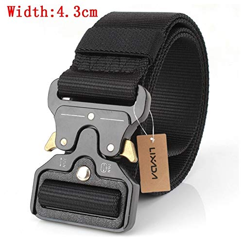 ZHYAODAI Nylon Belt with Adjustable Metallic Buckle Tactical Straps Heavy Duty Military Training Wear Belt with Hunting Accessories, 43Mm Black