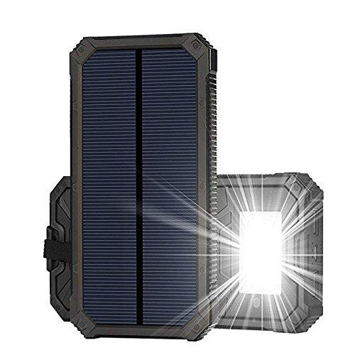 Soluser 15000mAh Dual USB Tragbare Solar Ladegerät, Solar Powerbank Wasserdicht Outdoor Ladegerät mit LED Leuchte für Partys und Outdoor-Aktivitäten (Angeln Net Licht)