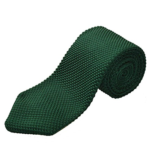 Alizeal Estructura–Corbata Ancha de Punto para Hombre Verde Oscuro