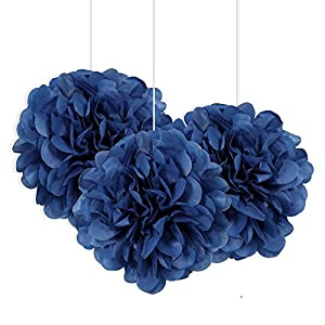 Unique Party Paquete de 3 pompones pequeños de papel de seda Color azul rey 23 cm 64213