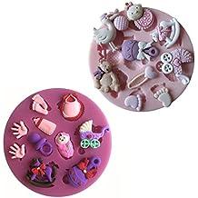 Karen Baking 2Pcs/Set Cuidado del bebé y juguete Conformado 3D Decoración de silicona Chocolate