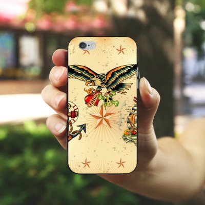 Apple iPhone X Silikon Hülle Case Schutzhülle Schiff Anker Tattoo Silikon Case schwarz / weiß