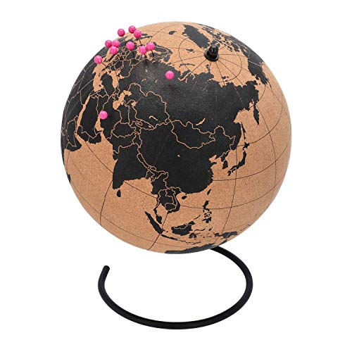 TravelMarker Kork Globus zum Pinnen - Extra Groß | Kork Weltkarte mit Pins zum Festhalten der Reise | Geschenkidee für Weltenbummler | Braun Schwarz 25cm Durchmesser | Globus Kork zum Markieren