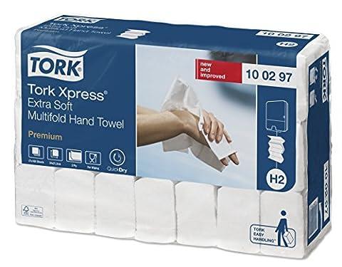 Tork 100297 Xpress Essuie-mains interfoliés extra doux pliés en M / Compatible avec le système Tork H2 Multifold / 2 plis / 21 x 100 feuilles (34 x 21 cm) -