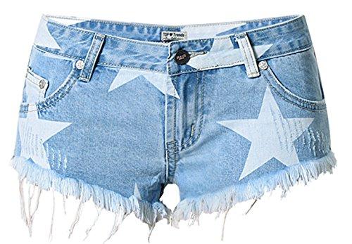 Bestfort Damen Shorts Jeans-Shorts elastische Taille sportlich unregelmäßige lose große Shorts Badeort casual Jeansshorts Color 4#