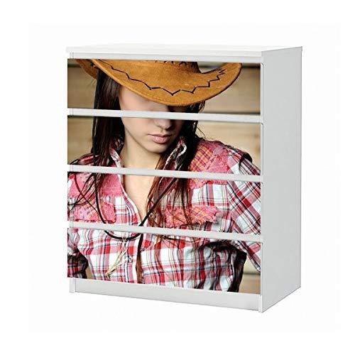 Set Möbelaufkleber für Ikea Kommode MALM 4 Fächer/Schubladen Sexy Frau Cowgirl Cowboy Hut Erotik Aufkleber Möbelfolie sticker (Ohne Möbel) Folie 25B295 (Cowgirl-folie)