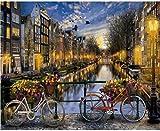 Diy Pintura Al Óleo Por Número Amsterdam Paisaje Pintura De Caligrafía Pintura Acrílica Sobre Lienzo Para La Decoración Del Hogar Obras De Arte Sin Marco