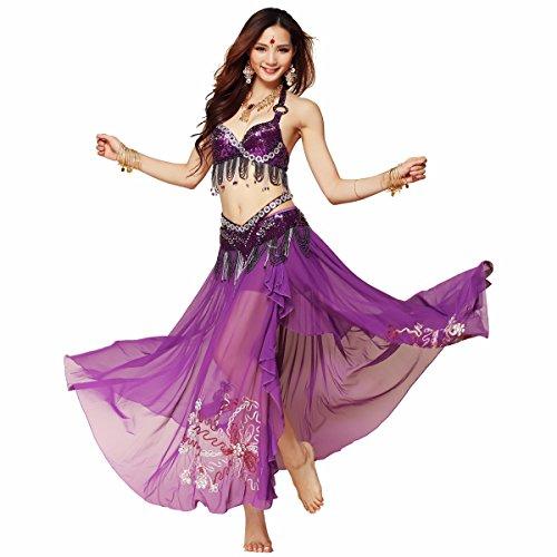 Best Dance Damen Profi Tribe Style Belly Dance Kostüm Show 3-pics Top & Gürtel & (Diva Kostüme Dance)