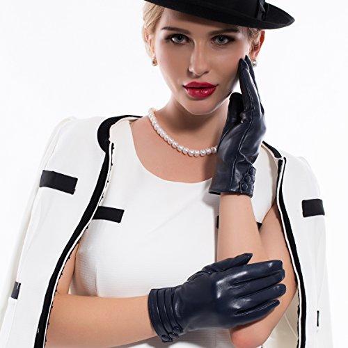 MATSU M9213 Gants en cuir Mode Femme Hiver Navy Blue-TouchScreen