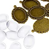 PandaHall 10 Set Basi Ciondoli Pendente Fai da Te, Basi Cabochon Stile Tibetano e Cabochon Vetro Trasparente Ovale, Bronzo An