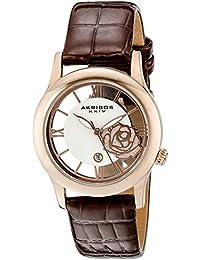 Akribos XXIV Reloj de cuarzo para mujer con plata esfera analógica pantalla y correa de piel color marrón ak837rgbr
