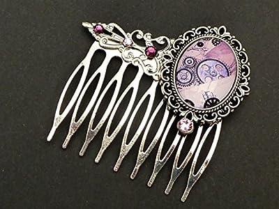 Peigne à cheveux steampunk en argent rose, engrenages, mécanique