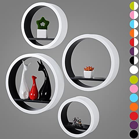 WOLTU RG9231sz Étagère murale ronde lot de 4,CD Étagère,étagère tablette en MDF,Blanc Noir