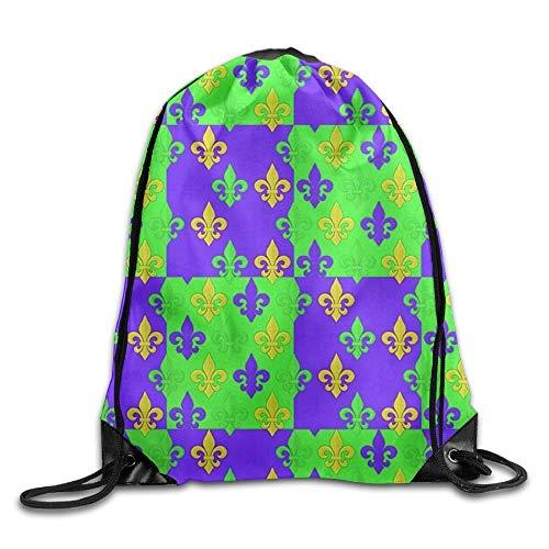 FTKLSS Lightweight Foldable Large Capacity Mardi Gras Fleur-de-Lis Pattern Unisex Drawstring Backpack Travel Sports Bag
