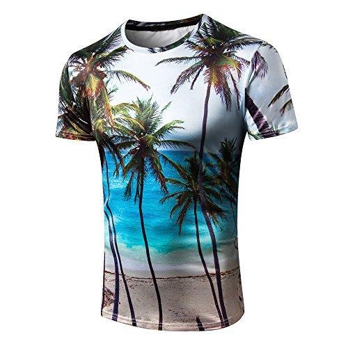 fbe6df843774e8 FRAUIT Herren Rundhalsausschnitt T-Shirt 3D Hawaiian Print Kurzarm T-Shirt  Top Männer Sommer Kurzarm Shirts Hawaii Hemd Freizeit Aloha Shirt Strand ...
