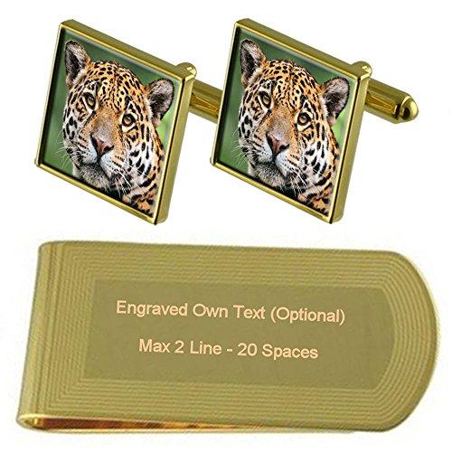 Jaguar Cat Gold-Manschettenknöpfe Geldscheinklammer Gravur Geschenkset