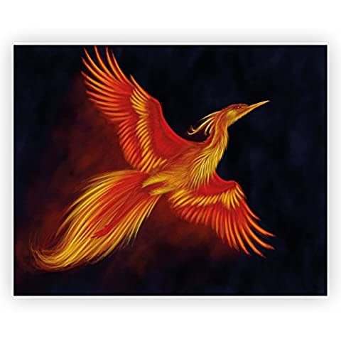 Orange Phoenix Fantasy Acrylic Glass Wall Art -70cm x 56cm