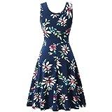 JYC Encaje Elegante Casual Vestido,Verano Suelto Vestido,Vestido Fiesta Mujer Largo Boda, Mujeres Impresión Verano Playa UN Línea Casual Floral Vestir (XL, Azul Oscuro)